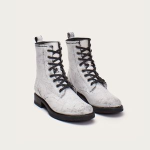 Frye Veronica white distressed combat boots